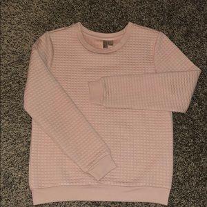 Textured Light Pink Raglan Crewneck Sweater
